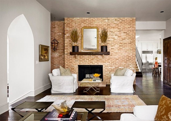 Exceptional living room design ideas with brick wall accents for Exposed brick wall living room ideas