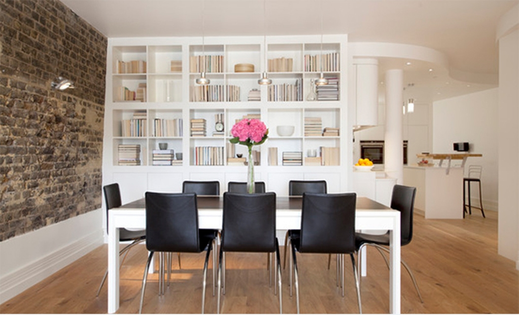 contemporary and bold dining room area the brick wall in this dining