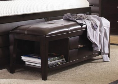 Contemporary Leather Storage Bench