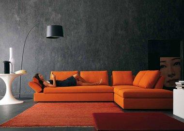 Contemproary Livig Room with orange sofa
