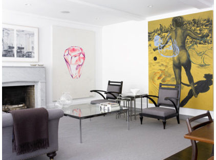 Creative Living Room with Oversized Artwork