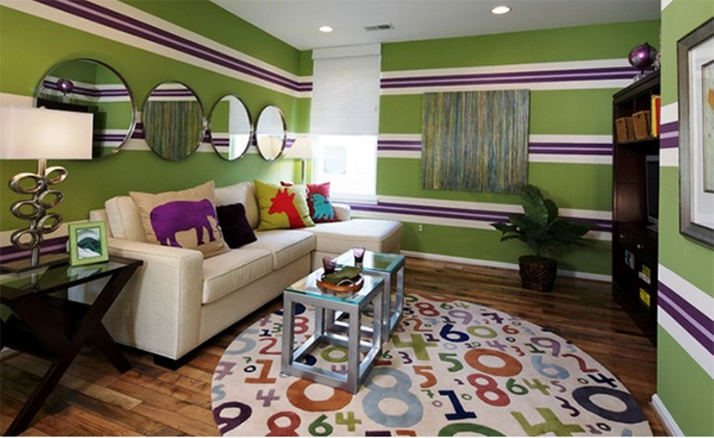 Eclectic  Green and Purle Striped Walls