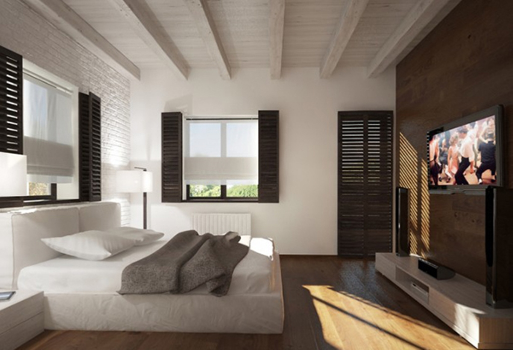 Minimalistic and Modern Bedroom with White Roof Beams
