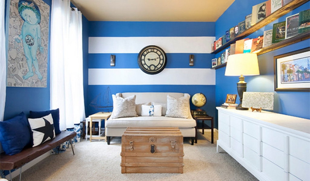 Modern Blue And White Striped Walls