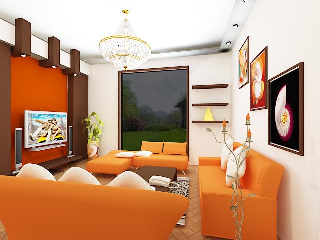 Oustanding living room designs with orange motifs for Living room ideas orange