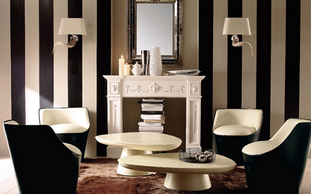 Create a modern living room with striped walls - Black and white striped wall ...