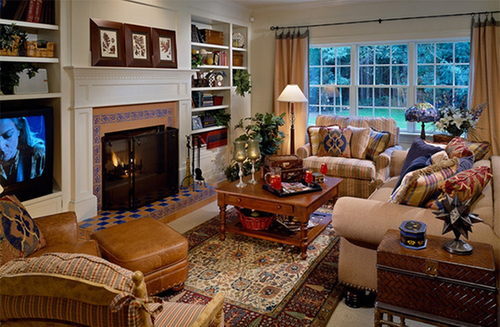country home with different patterns of the country furniture