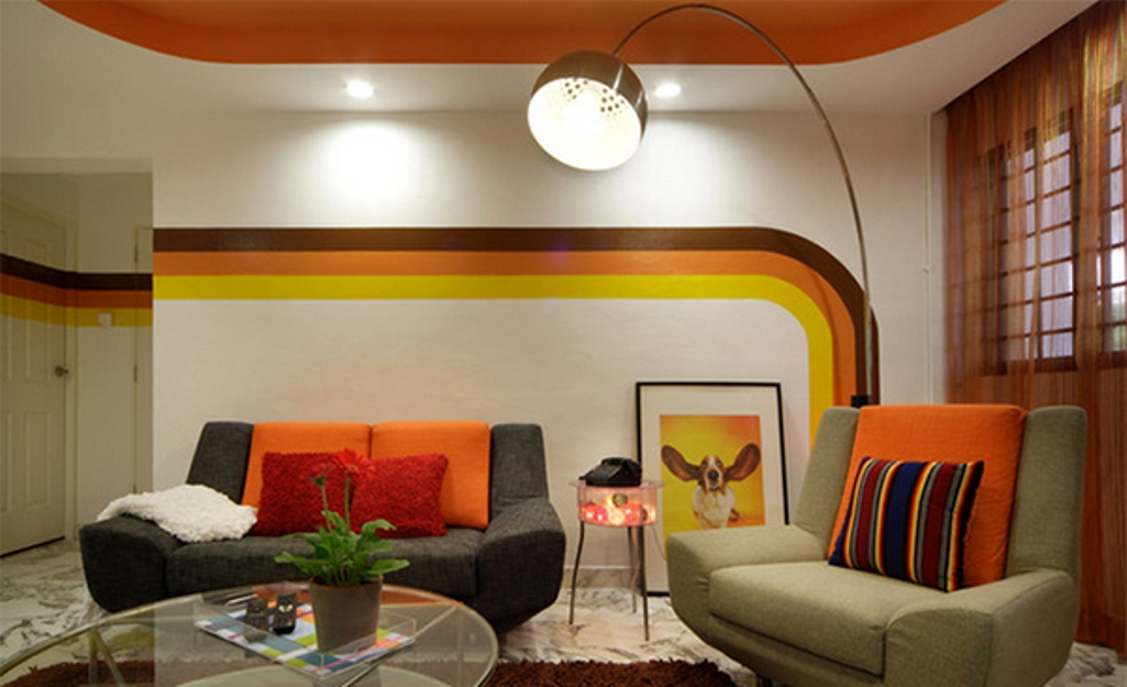 Retro Striped Walls Design