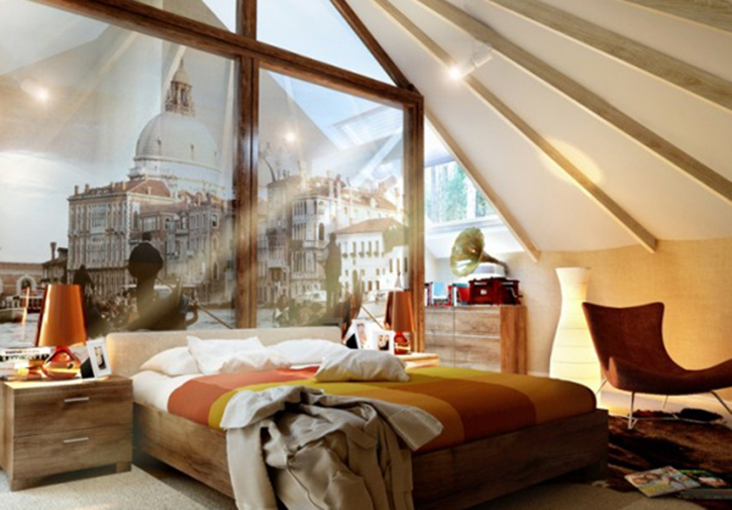 Sophisticated  Bedroom with Exposed White Roof Beams