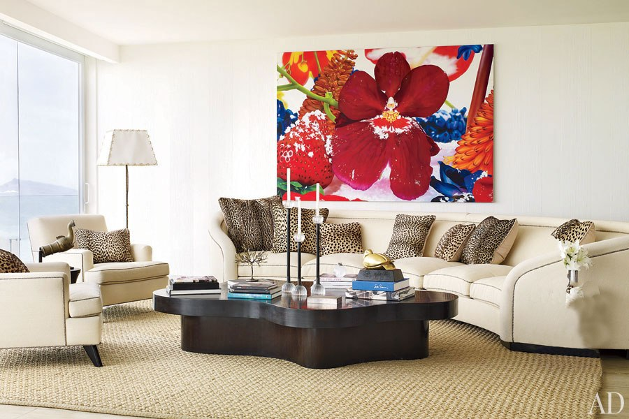 Stylish Living Room With Large Floral Artwork