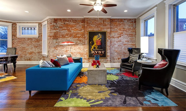 Stylish And Chick Living Room With Brick Wall Design