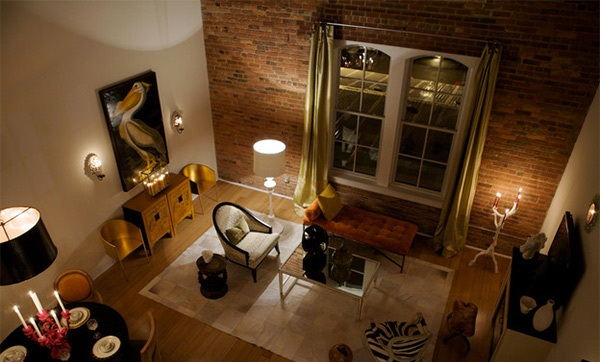 Urban Living room with Brick Wall