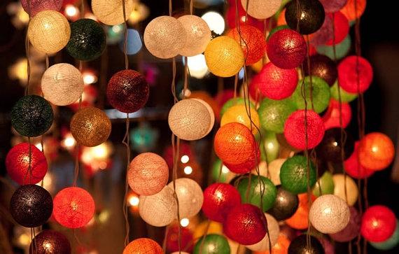 Hanging cotton ball light via Etsy