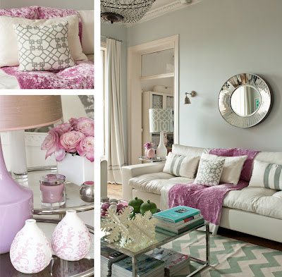 Modern gray-purple living room
