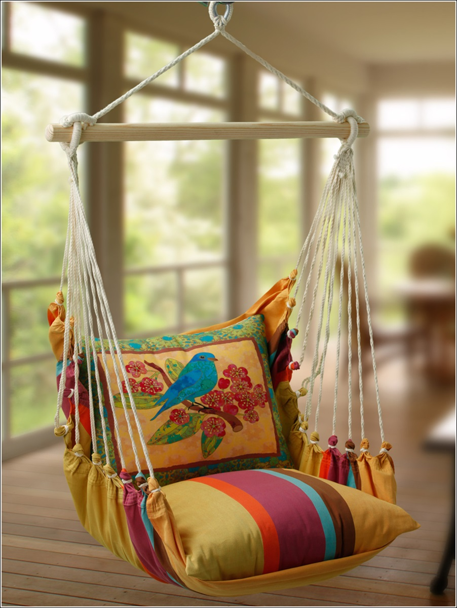 Amazing Interior Design Hammock Pillow Seats with Exquisite Prints ...