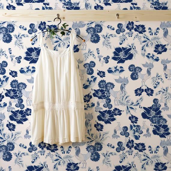 Blue Floral Living Room Wallpaper Design