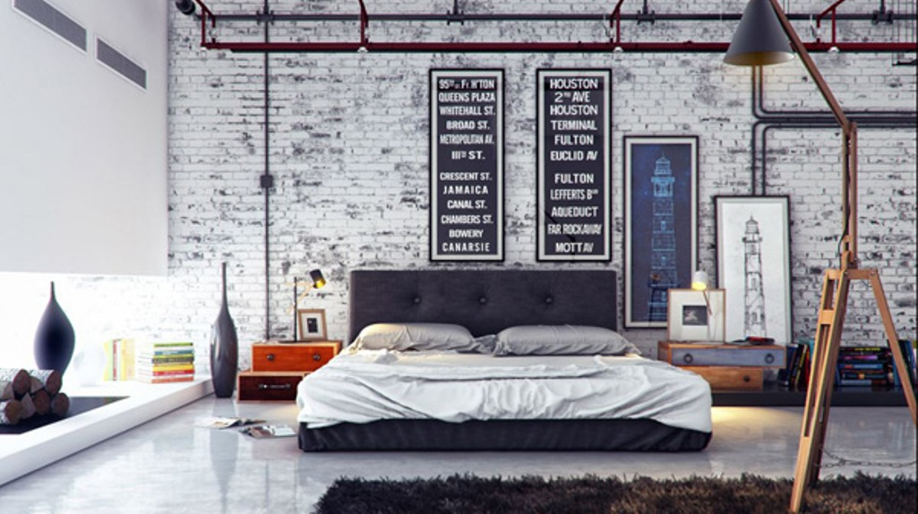 Contemporary and Stylish Bedroom with white brick walls. Urban and Indusrtial Design is important