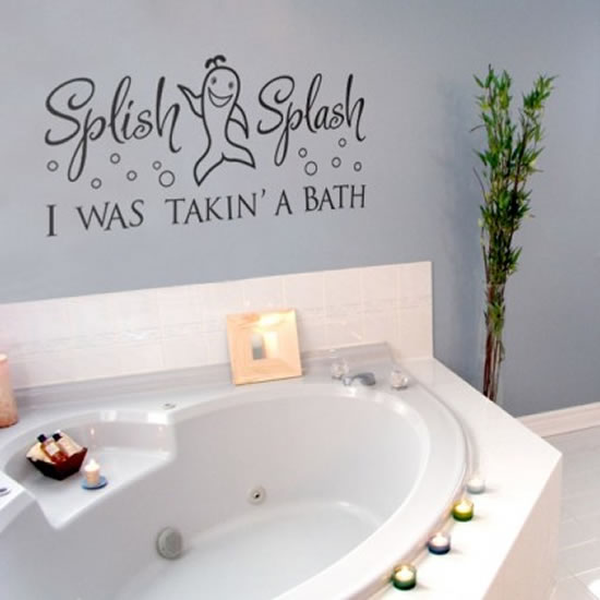 creative and fun bathroom quote wall stickers. Black Bedroom Furniture Sets. Home Design Ideas