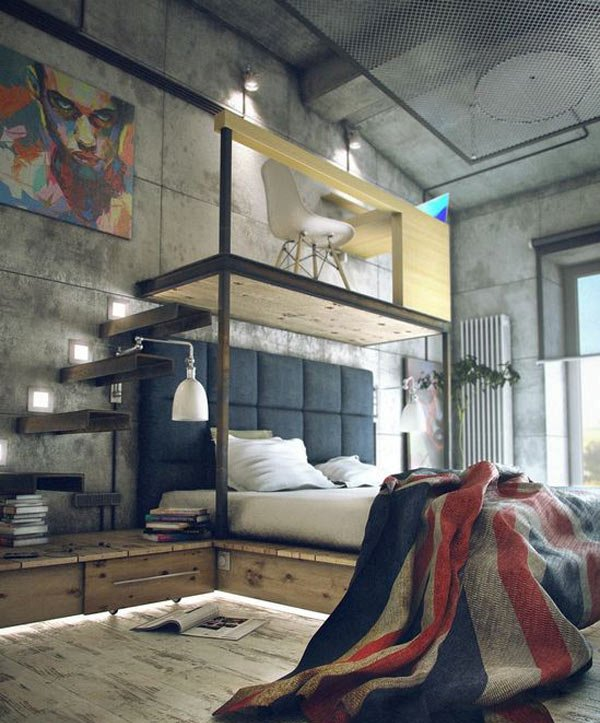 Urban and indusrtial bedroom design ideas for Bedroom ideas industrial