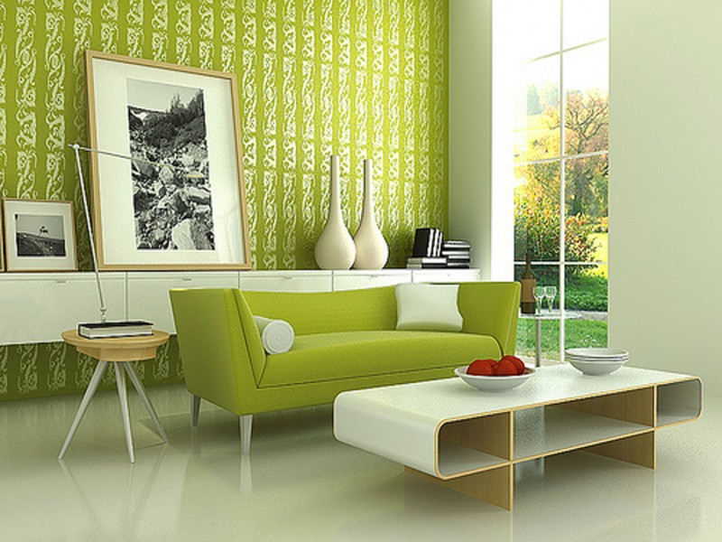Birght Living Room Designs With Blue And Green Wallpaper Motifs - Green living room wallpaper