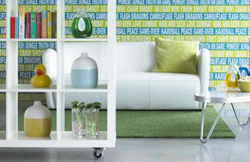 Green and White Living Room  Wallpaper Design