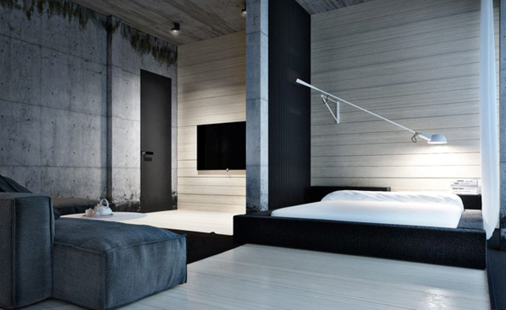 Minimalistic and Urban Bedroom Design. Urban and Indusrtial Design is important