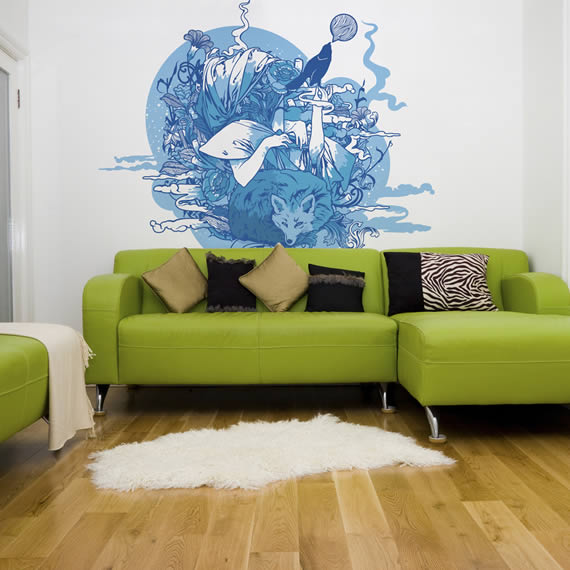 Birght Living Room Designs With Blue And Green Wallpaper Motifs