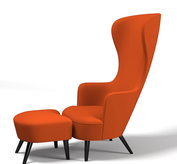 Modern Orange Wingback chair