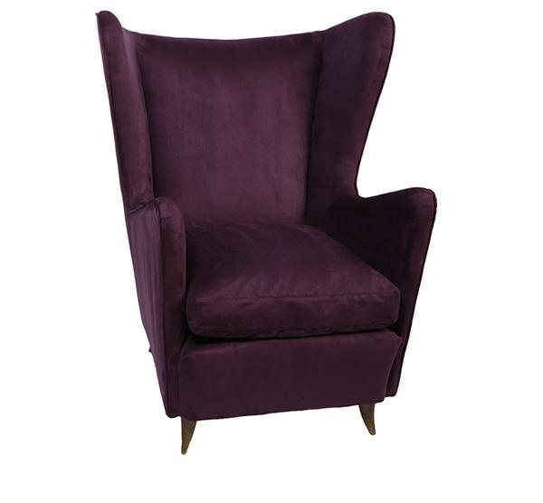 Purple Saten Wingback chair