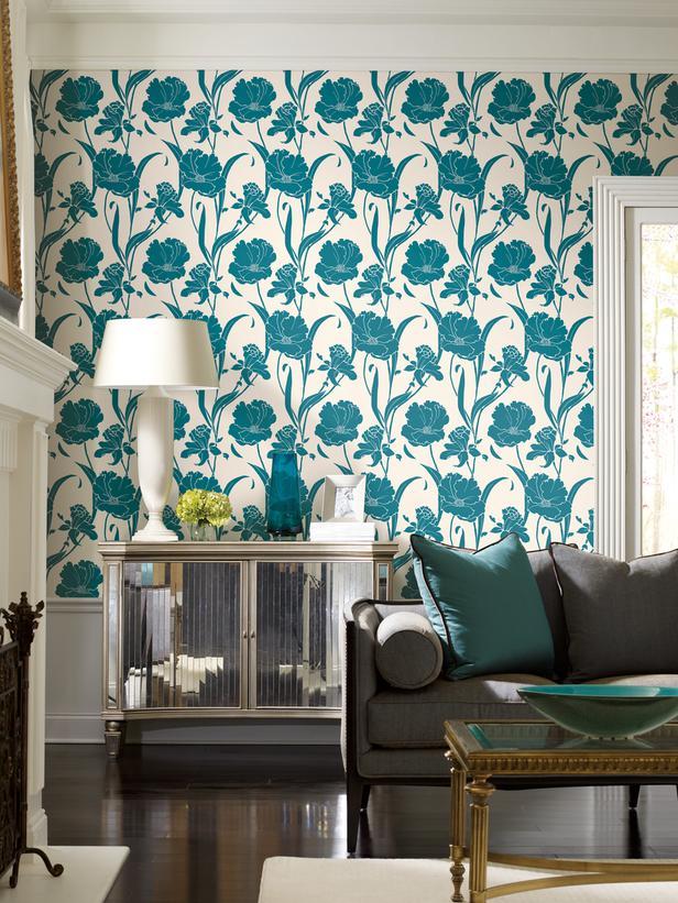 Wallpaper Designs For Living Room: Birght Living Room Designs With Blue And Green Wallpaper