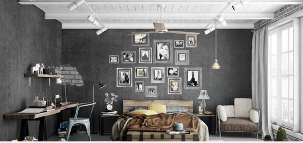 Urban Bedroom with grey walls and collage artworks. Urban and Indusrtial Design is important