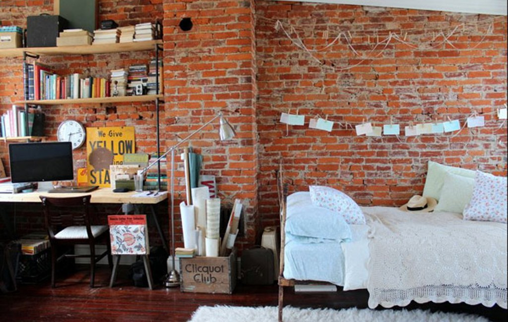 Brick Walls Are The Essential Element To A Industrial Bedroom And With