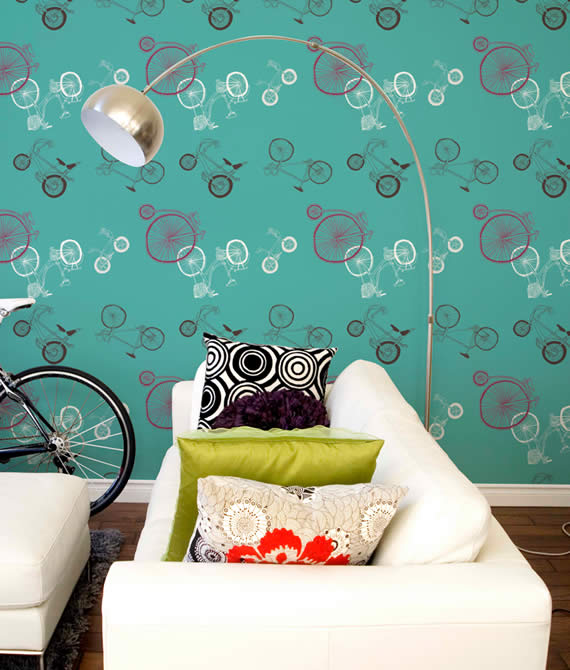Urban and Cheerful Blue Bycicle Wallpaper for Living Room