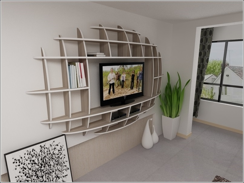 Modern 3d shelf unit for your living room for Living room shelves