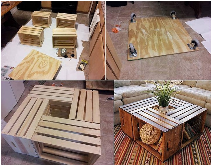 Cool Coffee Table Made with Wine Crates