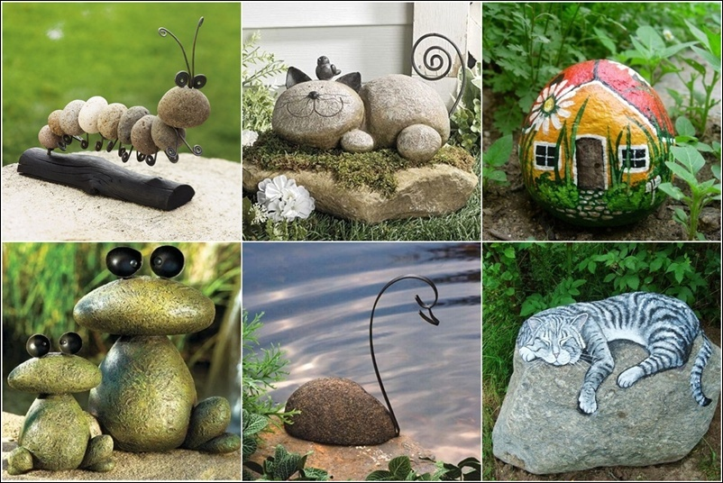 Paint and glue rocks to decorate your garden for Outdoor decorating with rocks