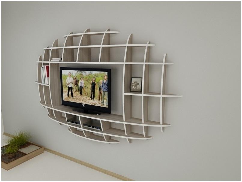 Modern 3d shelf unit for your living room for Shelf designs in living room