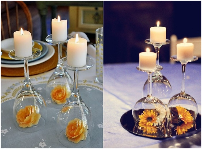 diy inverted wine glass centrepiece idea - Wine Glass Design Ideas