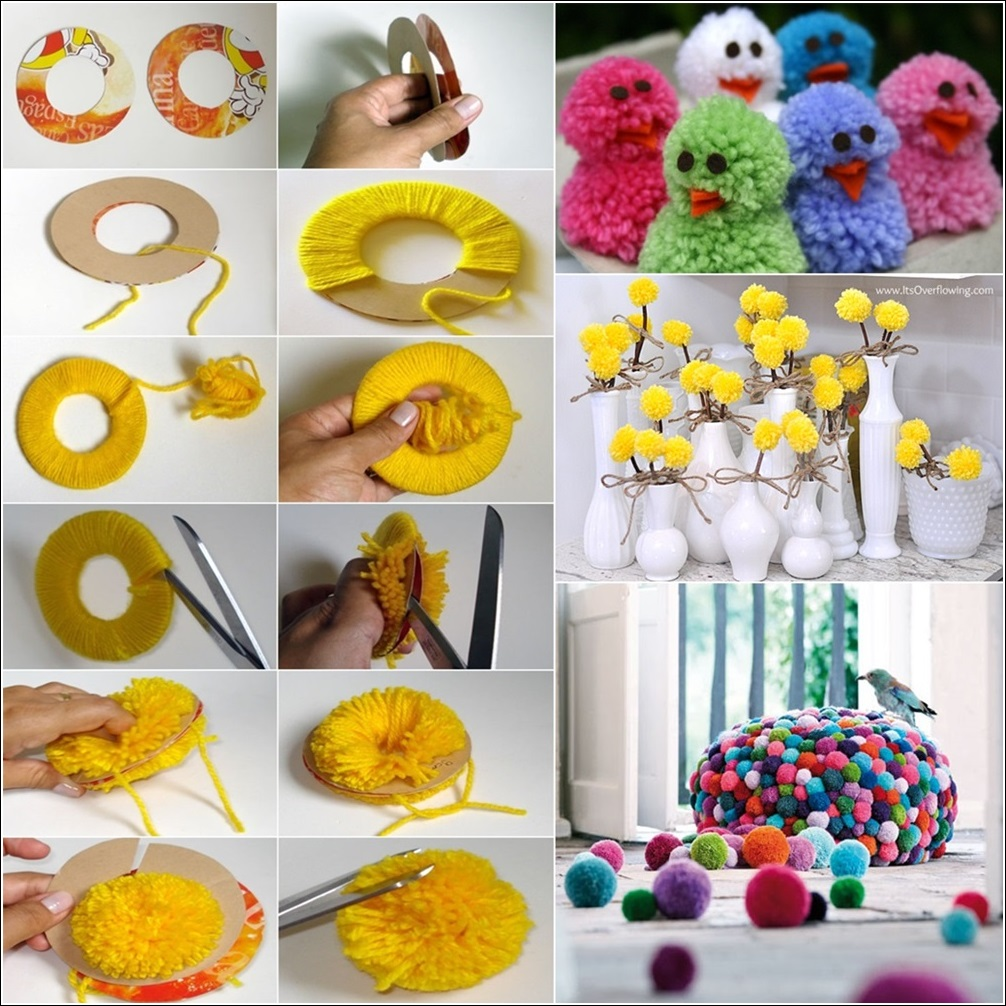 Learn how to make pom poms and craft decorative items from for Homemade home decoration items