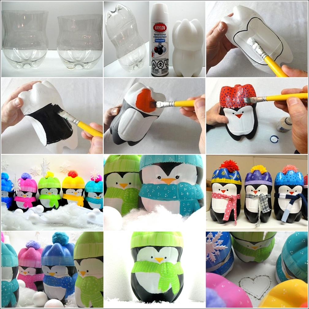 Diy plastic bottle penguins for Diy plastic bottle