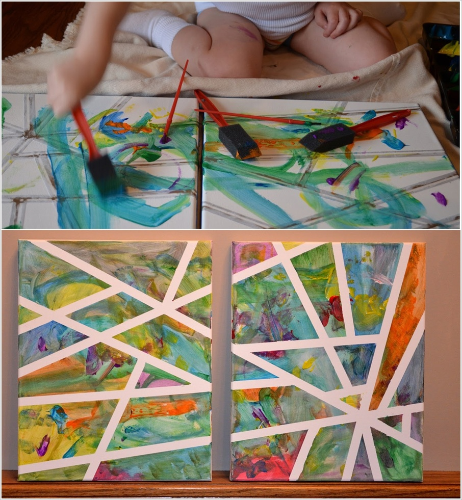 Canvas Painting With Tape: Abstract Art Done With Tape For Kids To Enjoy