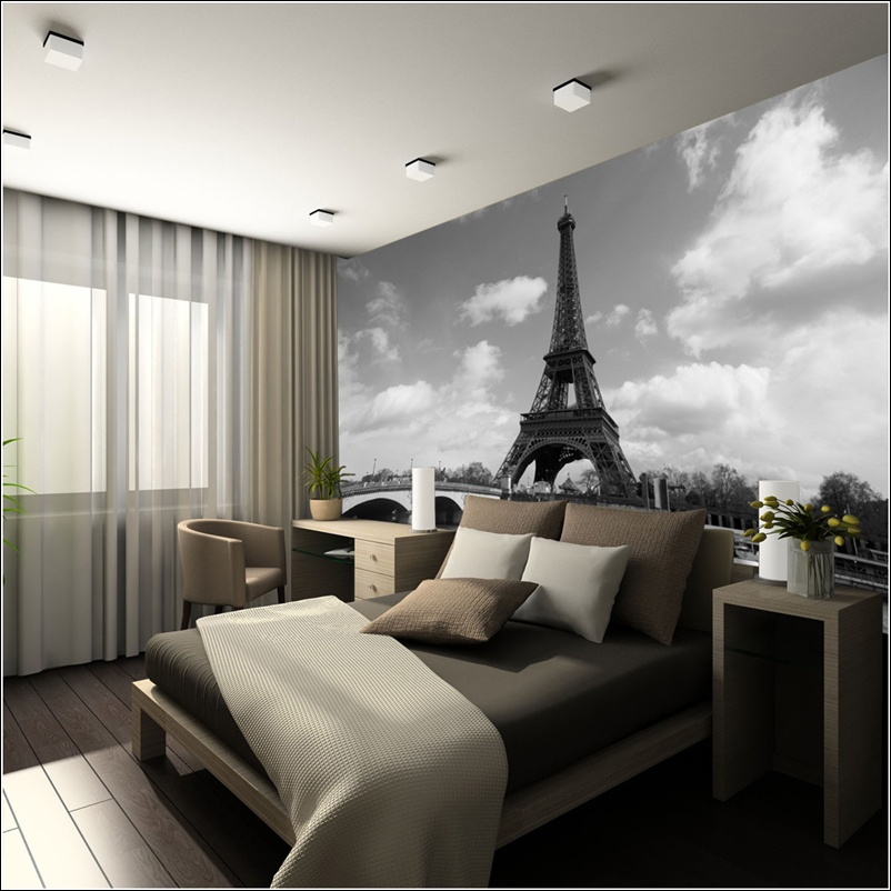 Add life to your walls with city wall murals for Black and white paris wall mural