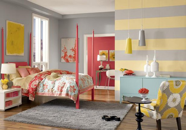 Charming Yellow and Grey Striped Walls
