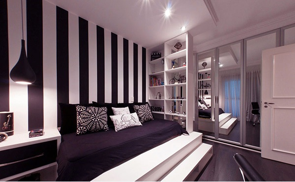 Dazziling bedrooms with striped walls - Black and white striped wall ...