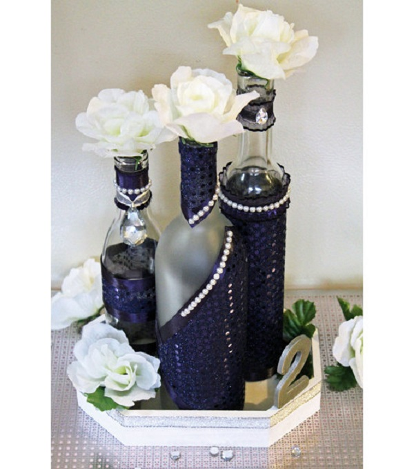 Try stylish wine bottle decorations Wine bottle wedding centerpieces