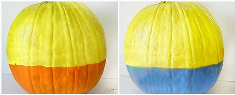 1.Paint the  Pumpkin in Yellow and blue