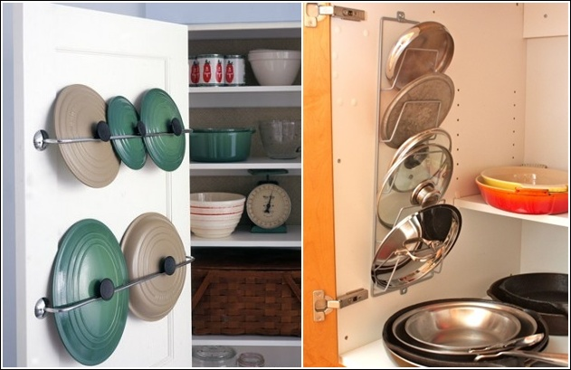 10 use of towel rods or magazine rack for lids storage