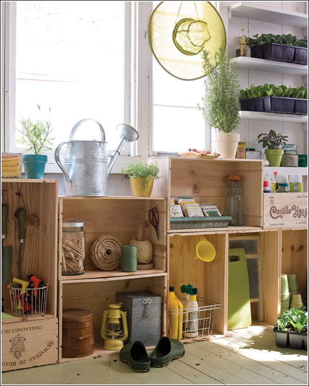10. Garden Shed Wine Crate Storage Shelves