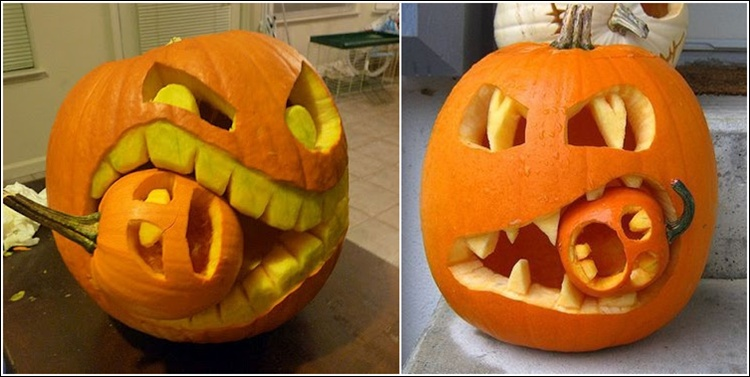 13 halloween decoration ideas for your inspiration - Extraordinary accessories for halloween decoration with pumpkin eating another pumpkin carving ...
