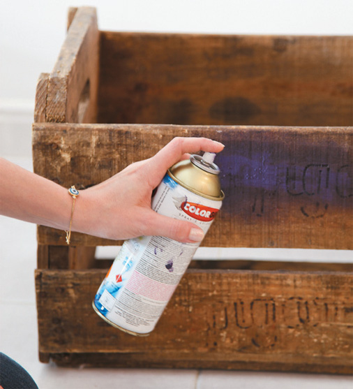 2. Paint the fruit crate with a paint spray